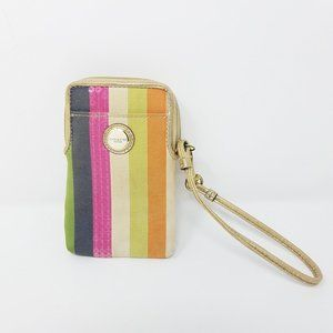 Coach wristlet striped phone/ID